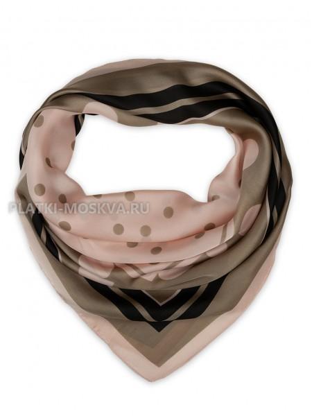 """Платок Valentino шелковый коричневый с розовым """"Горох"""" 3573"""