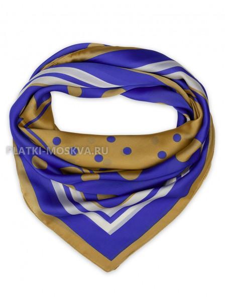 "Платок Valentino шелковый синий ""Горох"" 3575"