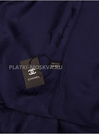 Платок Chanel шелковый темно-синий однотонный 299-1