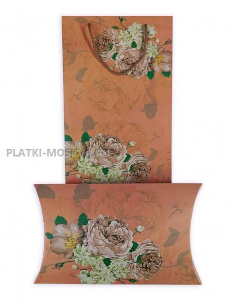 """Подарочный конверт с пакетом бежево-розовый """"Цветы"""""""