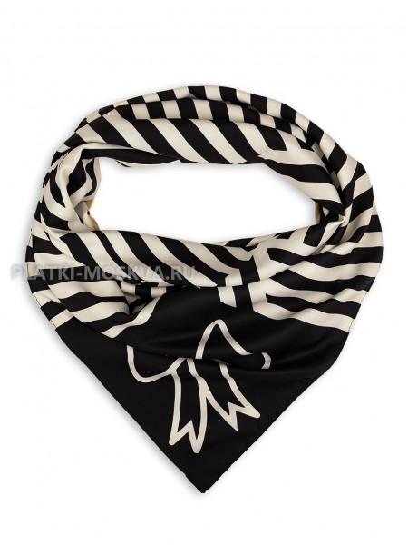 """Платок Moschino шелковый черный с белым """"Love"""" 3552"""