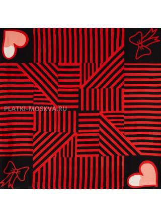 """Платок Moschino шелковый черный с красным """"Love"""" 3553"""