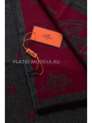 Шарф мужской Hermes кашемировый серый с красным 3402-2