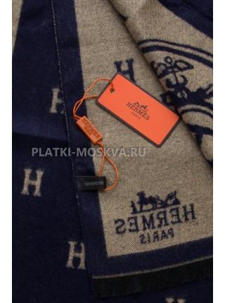 Шарф мужской Hermes кашемировый синий с бежевым 3437-1