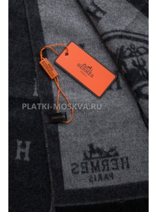 Шарф мужской Hermes кашемировый черный с серым 3404-1