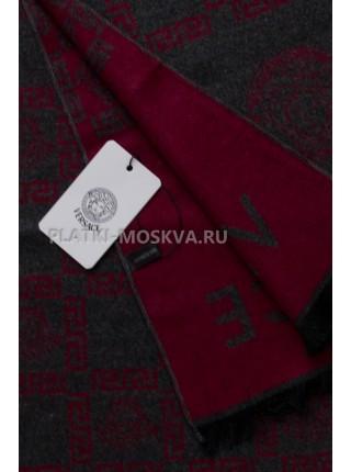 Шарф мужской Versace кашемировый серый с красным 3453