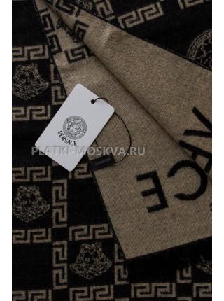 Шарф мужской Versace кашемировый черный с бежевым 3423-1