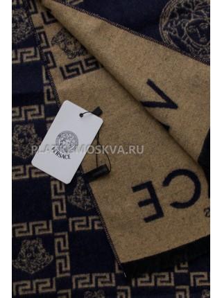 Шарф мужской Versace кашемировый синий с бежевым 3452