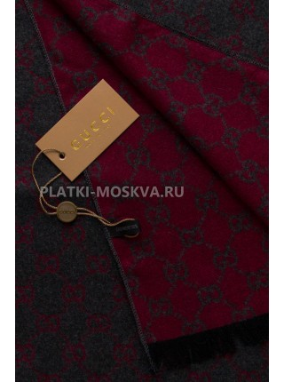 Шарф мужской Gucci кашемировый серый с красным 3434-1