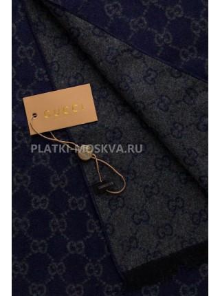 Шарф мужской Gucci кашемировый синий с серым 3435-1