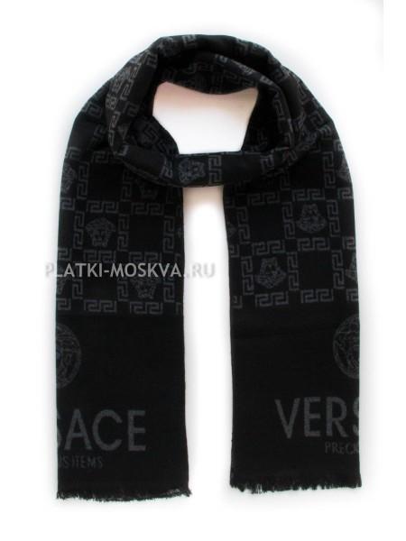 Шарф мужской Versace кашемировый черный с серым 3424