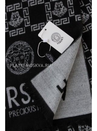 Шарф мужской Versace кашемировый черный с белым 3425