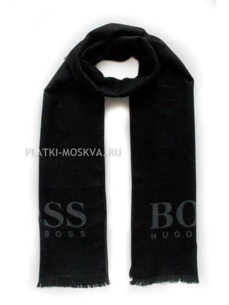 Шарф мужской Hugo Boss кашемировый черный с серым 3432