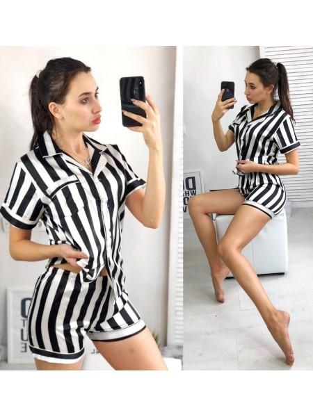 Женская шелковая пижама с шортами 8501