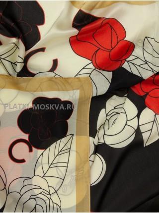 Палантин Chanel шелковый бежевый с черным 3615