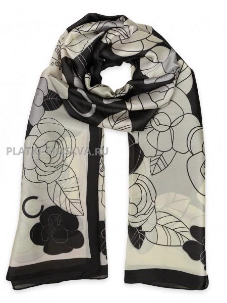 Палантин Chanel шелковый белый с черным 3614