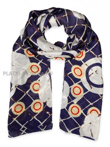Палантин Chanel шелковый темно-синий 3611
